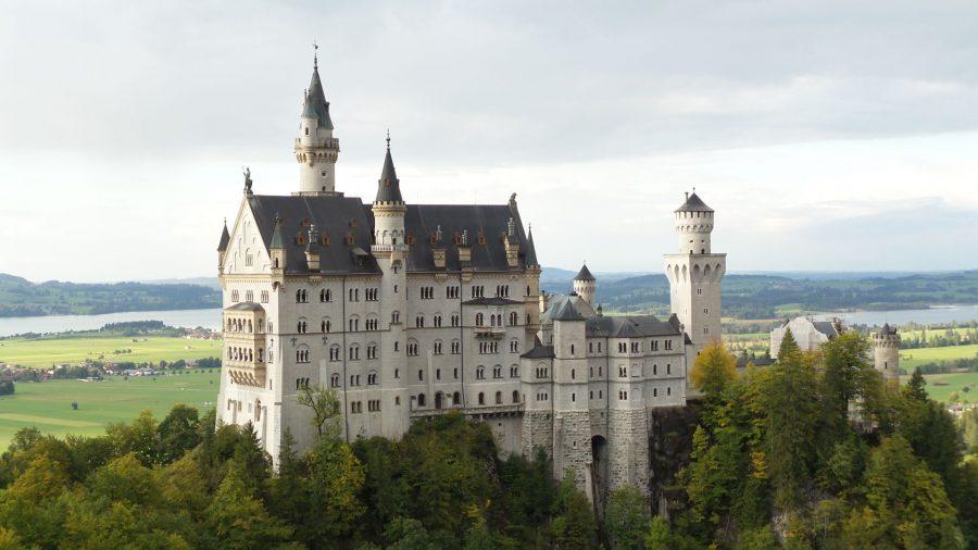 The German castle Neuschwanstein from Mary's Bridge