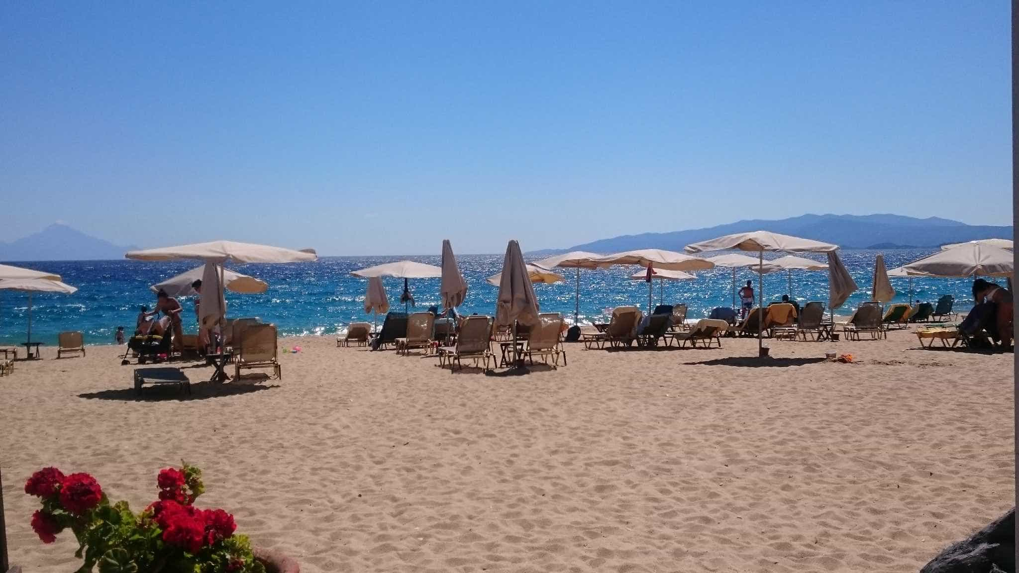 The beach at Assa Maris Bomo Club in Halkidiki, Greece