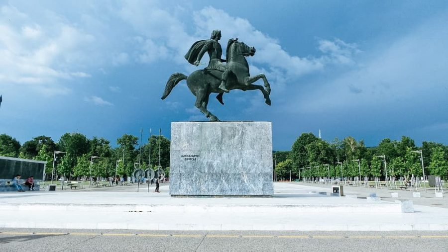 Man on a horse statue known as the Alexander the Great.