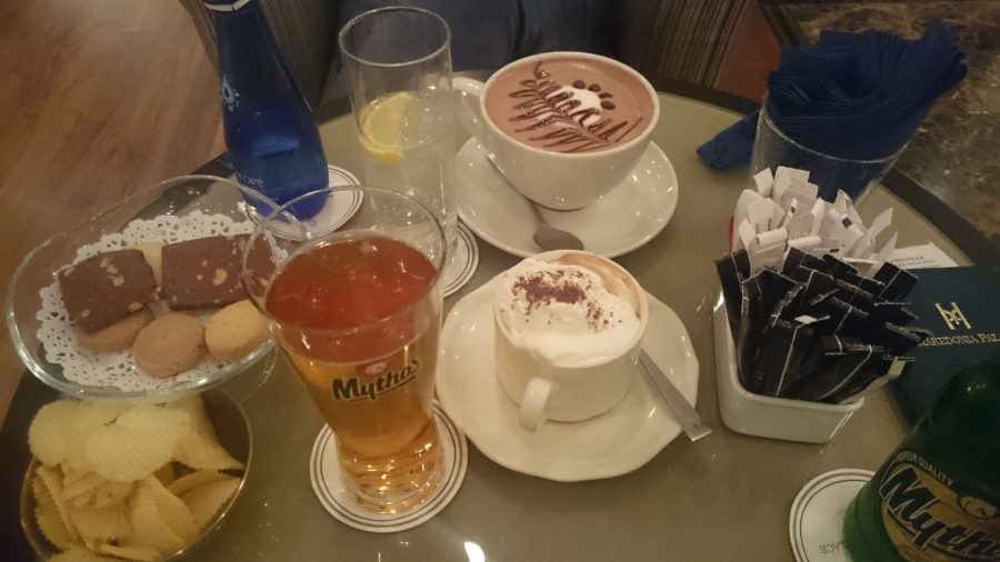 Cappuccino and Mythos Beer in Thessaloniki, Greece