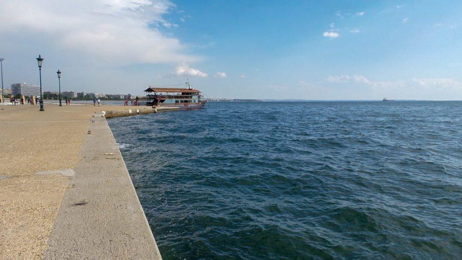 Pier and boardwalk by the sea in Thessaloniki, Greece.