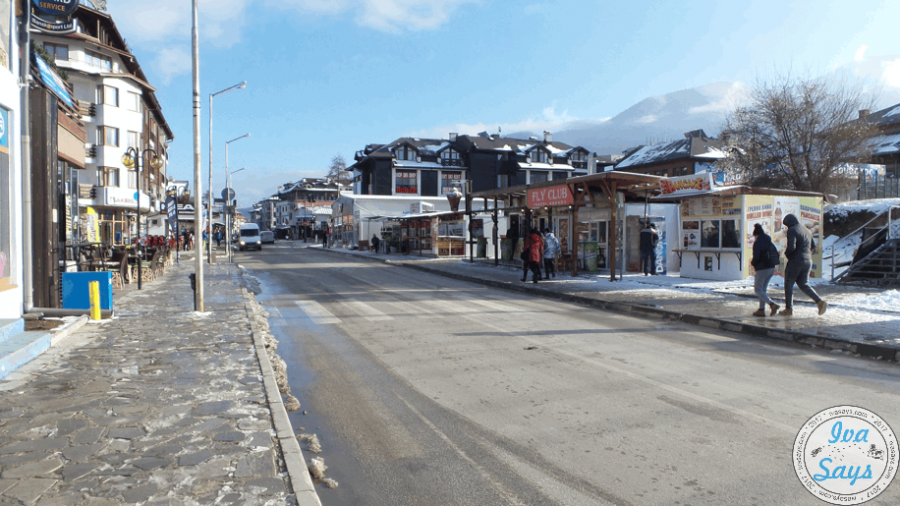 Pirin Street in Bansko, Bulgaria by the Ski Center (Gondula)