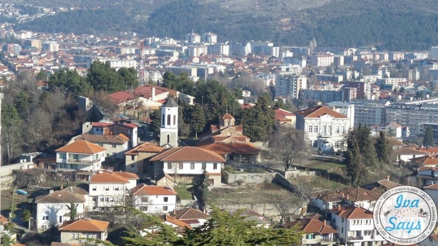 View of Church Mother of God Perivieptos and the Icon Gallery from Czar Samuel's Fortress in Ohrid, Macedonia. #travel #photography #panorama