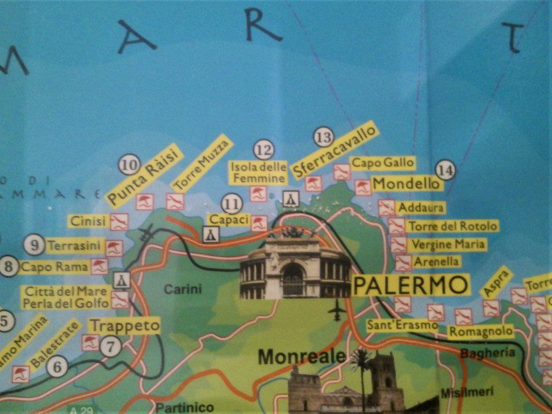 Tourist map of northern Sicily.