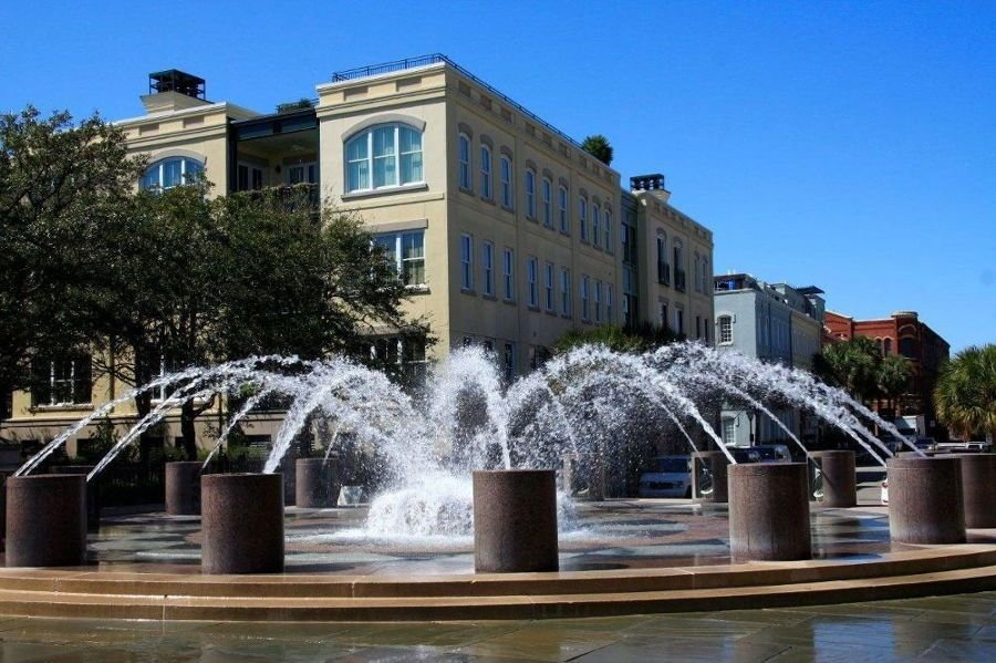 Water coming out of a fountain in middle of Charleston, South Carolina
