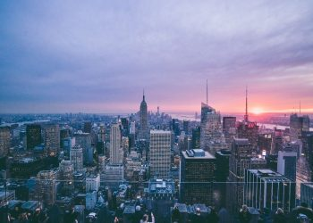 View to downtown Manhattan in New York City from the Chrysler Building.