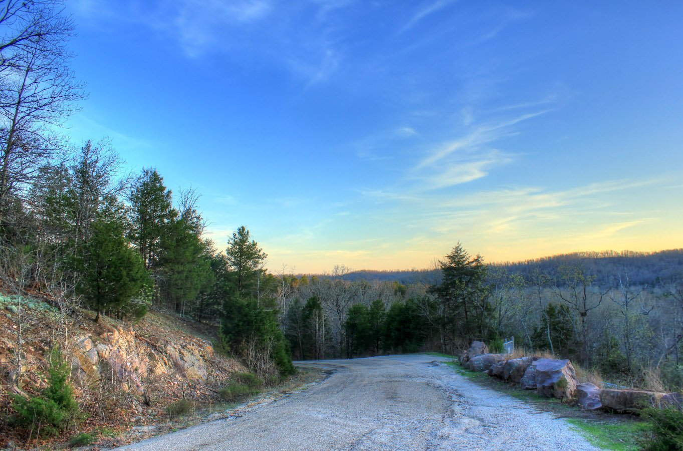 Dusk in the hills of a forest park in the state of Missouri, known as the Show Me State.