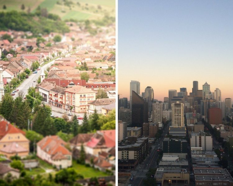 Collage of smaller towns with houses and buildings to stay at during vacations or holidays.