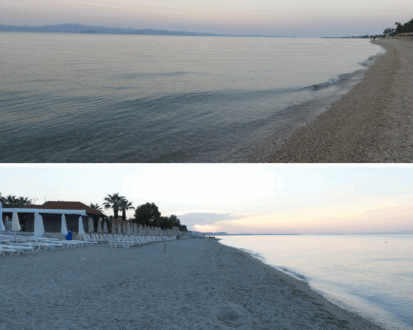 Crystal-clear water in Chaniotis and view of the long beach.