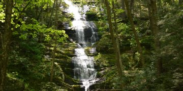 The Buttermilk Falls in Layton New Jersey. Waterfall dropping in the Delaware Water Gap Wild area. Also start of the Buttermilk Falls Trailhead.