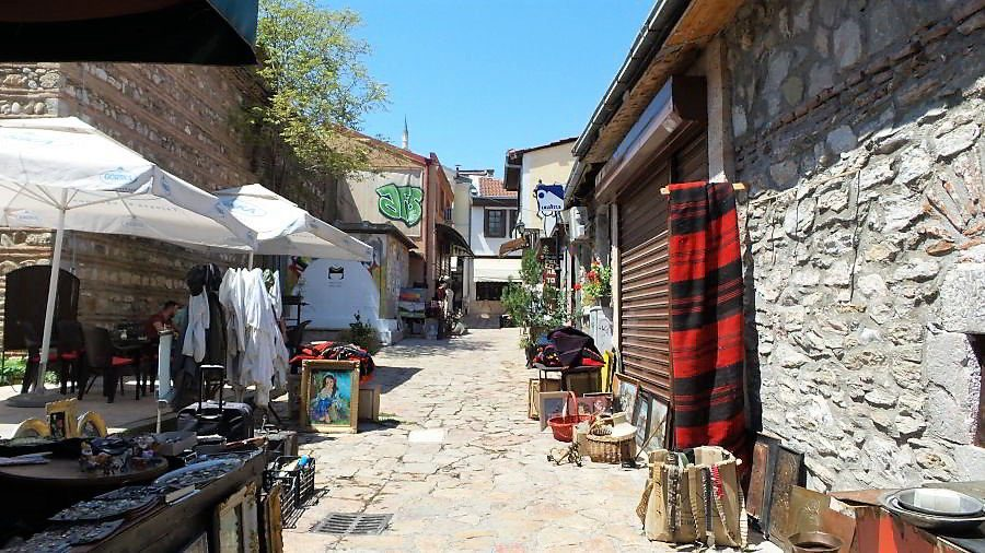 Goods and products being sold on the streets of the Old Bazaar in Skopje, Macedonia