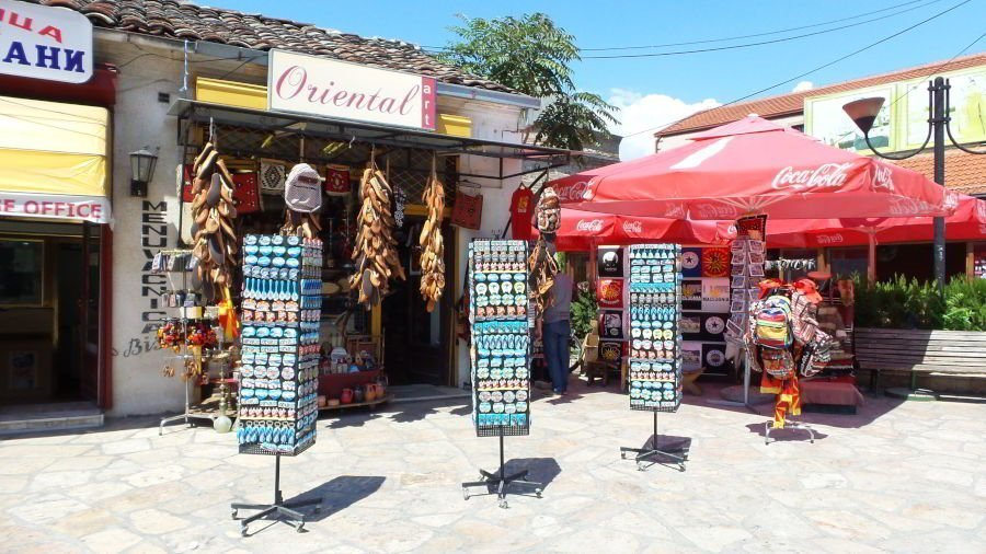 A souvenir shop selling magnets, key chains, postcards and other travel memorabilia to tourists in the old bazaar in Skopje.