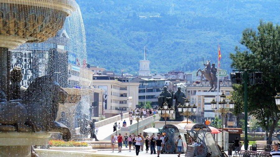 View to the Stone Bridge in Skopje from the Old Bazaar in Macedonia.