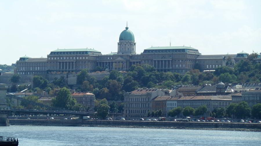 The Buda Castle or the Budapest Royal Palace on the Buda Castle Hill seen from accross the Danube River.