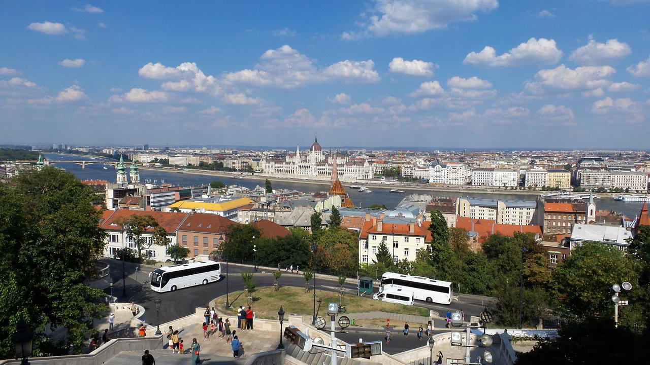 Overview of the Parliament buidling and the city Budapest, Hungary from the Fisherman's Bastion landmark.