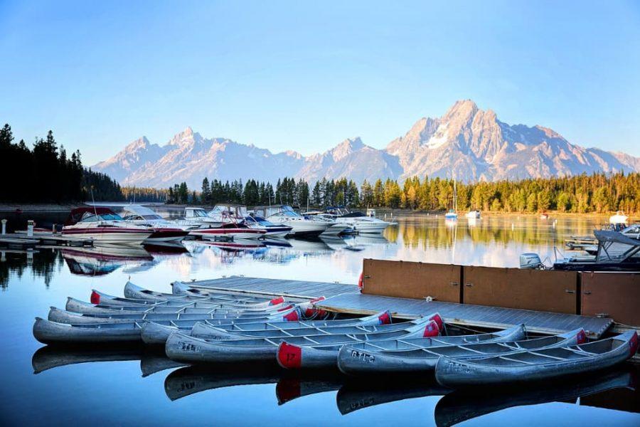 Kayaks in Lake Jenny in Grand Teton Wyoming.
