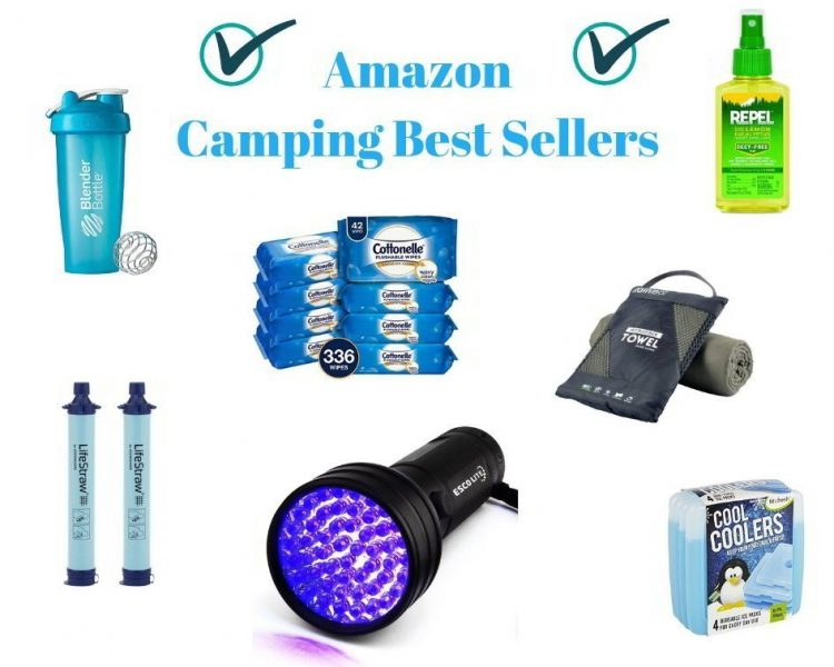 Collage of multiple Amazon Camping Gear Best Seller Products, such as car chargers, shaker bottles, wet wipes, and bug spray.