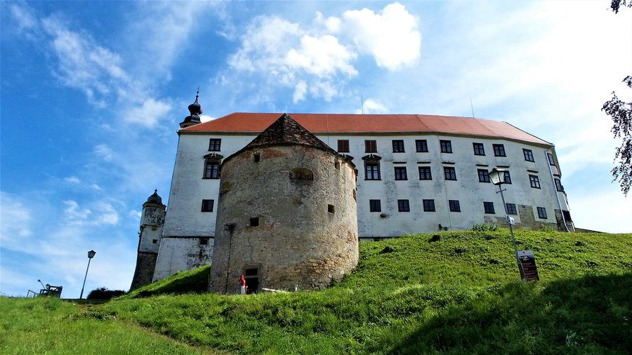 A medieval castle, the Ptuj Castle, above the old town of Ptuj in Slovenia.