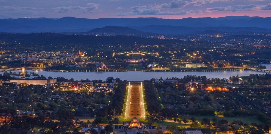 Canberra, Australia at night.