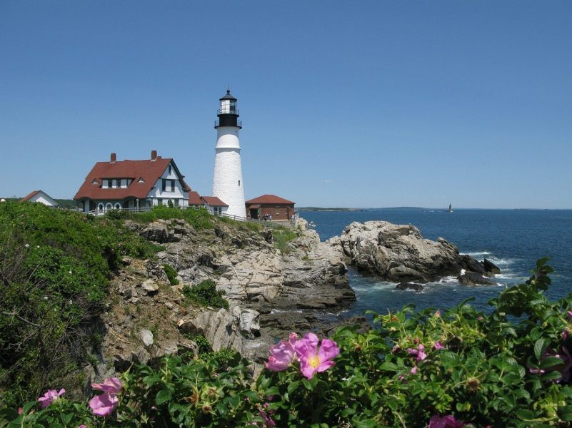Lighthouse on a cliff in Portland, Maine