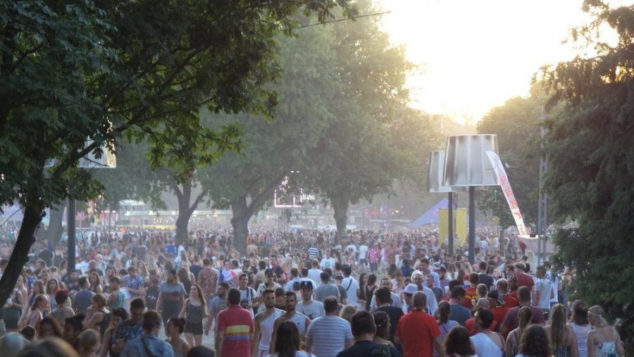 A large crowd of people at the festival of Sziget in Budapest.