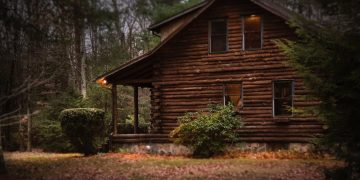 Wooden log cabin in a forest.