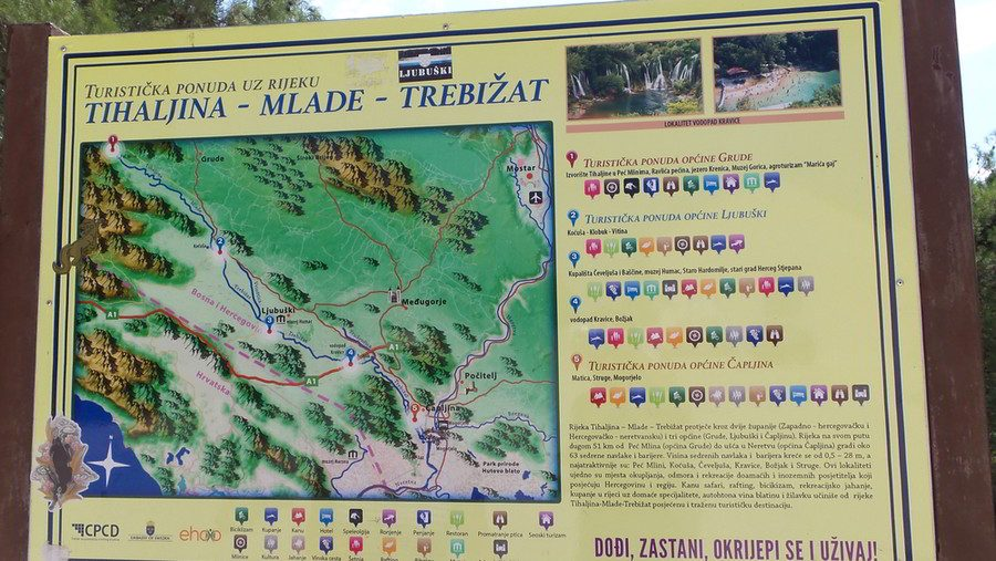 A tourist map at Kravice in Bosnia.