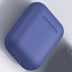 Navy blue wireless bluetooth headphones for travelers