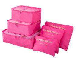 Light rose travel bag system for luggage clothing organizer.