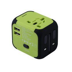Green EU/US/UK/AU travel adapter plug converter.