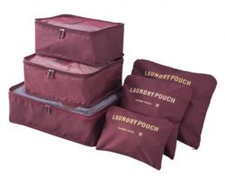 Wine red travel bag system for luggage clothing organizer.