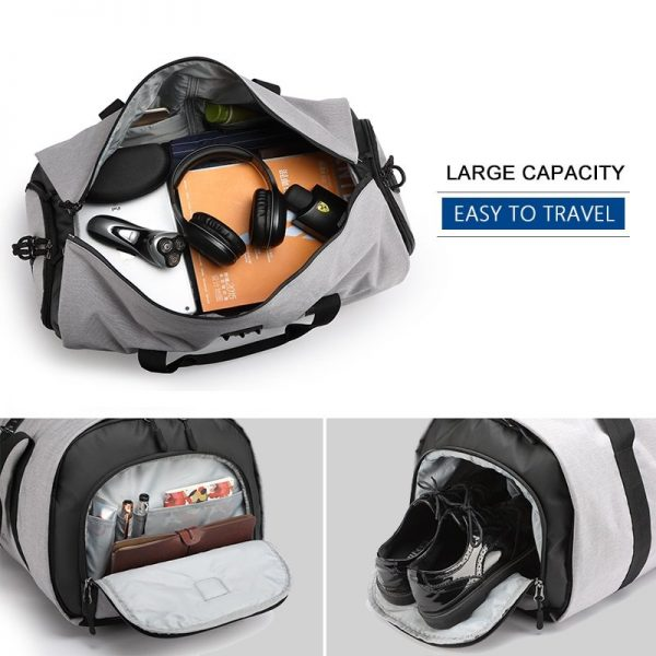 Grey travel bag for men
