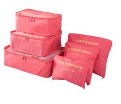 Watermelon red travel bag system for luggage clothing organizer.