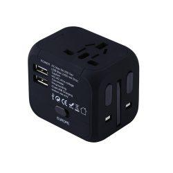 Black EU/US/UK/AU travel adapter plug converter.