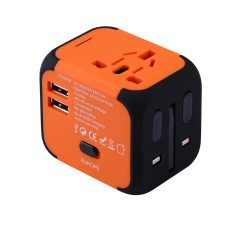 Orange EU/US/UK/AU travel adapter plug converter.