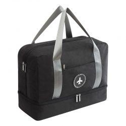 Black waterproof travel handbag