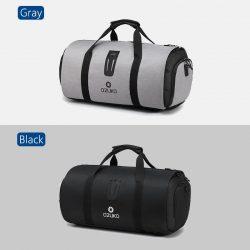 Men's travel duffle bags - black and grey.