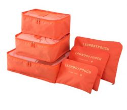Orange travel bag system for luggage clothing organizer.