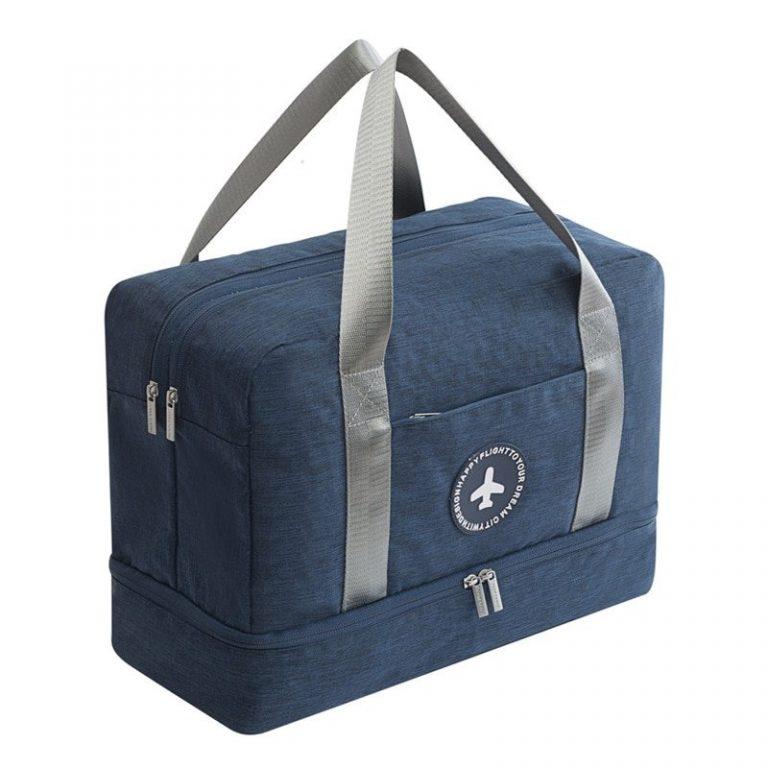 Navy blue waterproof travel handbag