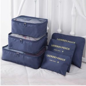 Deep blue travel bag system for luggage clothing organizer.