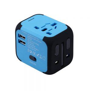 Blue EU/US/UK/AU travel adapter plug converter.