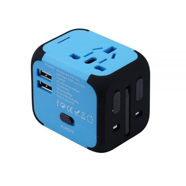 Blue EU/US/UK/AU travel adapter plug converter.