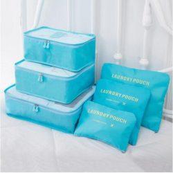 Light blue travel bag system for luggage clothing organizer.