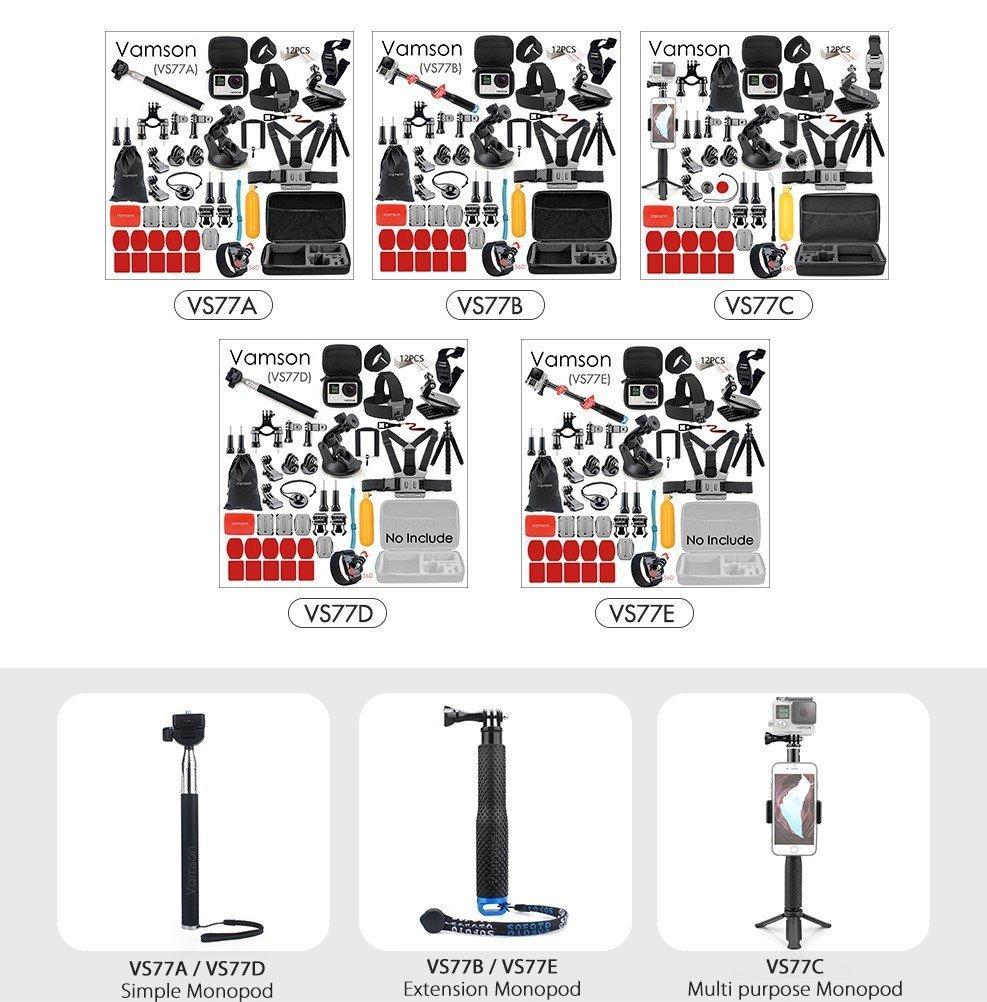 Vamson gopro accessories option