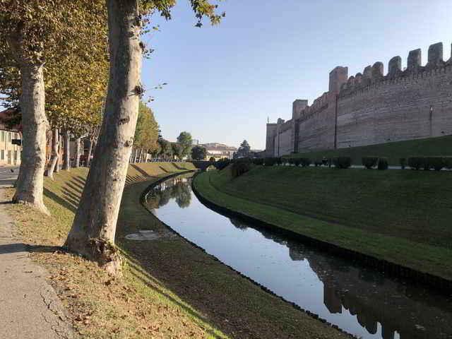 Trees with river separating a walled fortress.