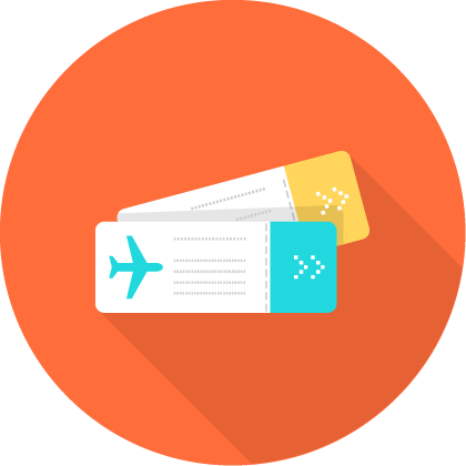Two flight tickets icon