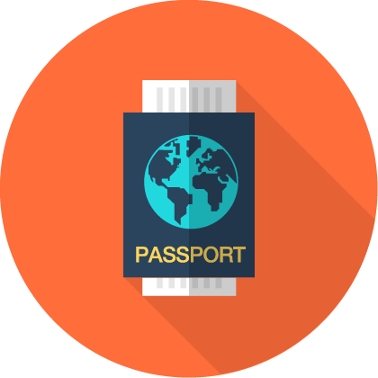 Blue passport icon
