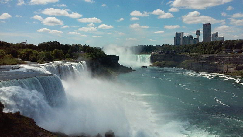 Waterfalls with Clouds in the sky