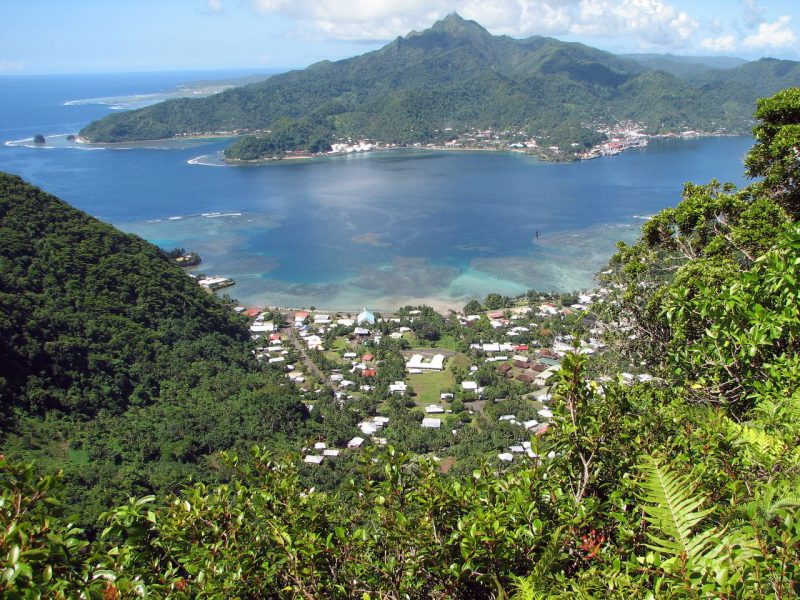 Mountains and town at Pago Pago American Samoa