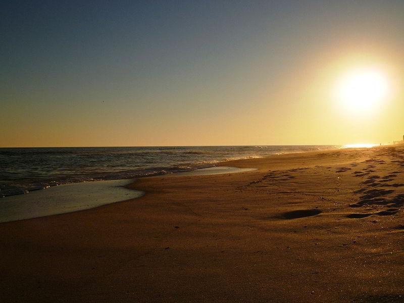 Sunset at a beach.